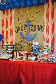 "Photo 21 of 53: Sailor/nautical / Birthday   ""Anchors Away, It's Jake & Noah's Birthday!"""