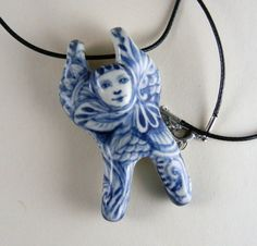 Porcelain pendant doll necklace in blue and white by PSPorcelain