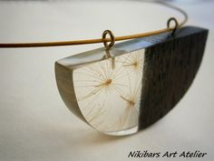 Wenge Wood Resin Dandelion Pendant Wood by NikibarsNatureArt