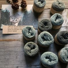 Natural dyes - wool threads with dyed with walnut over-dyed with Indigo at Loop, London.