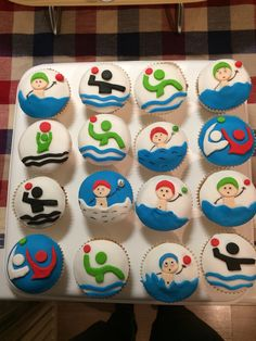 Waterpolo cupcakes Pool Party Cakes, Pokemon Emerald, Swimming Party Ideas, Cupcake Cakes, Cupcakes, Water Polo, Swim Team, Cookie Decorating, Banquet