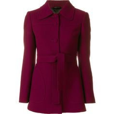 L'Autre Chose belted blazer ($651) ❤ liked on Polyvore featuring outerwear, jackets, blazers, red, l'autre chose, purple blazers, belted blazer, belted jacket and red jacket
