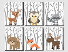 This but with green and brown background. Woodland Nursery Woodland Wall Decor Kids Forest by vtdesigns