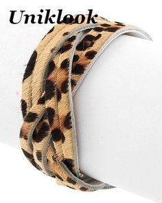 Wild Leopard Animal Print Braid Furry Leather 3 size Snap Wrap Bracelet Jewelry