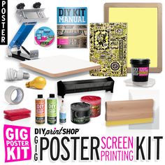 http://diyprintshop.com/  The DIY Print Shop® GIG Poster Kit® comes equipped with all of the essential high-quality tools needed to make awesome big-size screen prints.