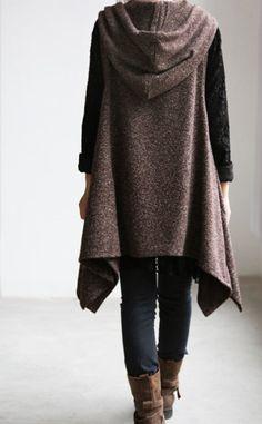 Irregular hooded vest dress/ long waistcoat Coat by MaLieb on Etsy, $68.00