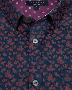Paisley print shirt - Navy | Printed Shirts | Ted Baker