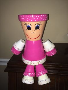 Fuchsia and White Flower Pot People /Pot by RusticMtnGirlCrafts                                                                                                                                                                                 More