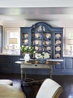 John Jacob Interiors- china cabinet built in to kitchen French Country Kitchens, French Country Bedrooms, Country Farmhouse Decor, French Country Interiors, French Decor, French Country Decorating, Rustic French, Country French, Living Comedor