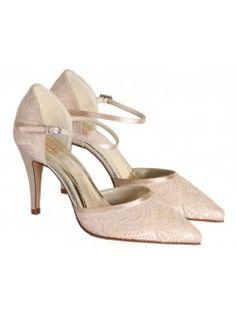 5002e122098 The Cotswold Frock Shop · Bridal Shoes · Rainbow Club Tierney Vintage Lace  Open Waist Shoe With Ankle Strap Ivory Designer Wedding Shoes