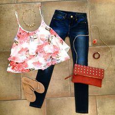 ruffle flower tank, darkwash jeans