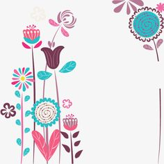 Flores simples vector PNG y Vector Page Borders Design, Decoupage Paper, Floral Border, Diy Arts And Crafts, Whimsical Art, Doodle Art, Floral Watercolor, Cute Wallpapers, Flower Patterns