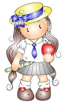 Digital Digi School Girl Chloe Stamp by PinkGemDesigns on Etsy