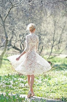 Lace short wedding dress with sleeve. Pretty, though probably an actual bride would be wearing underpants. White Lace, White Dress, Sheer Dress, Fashion Vestidos, Plum Pretty Sugar, Moda Vintage, Shabby Vintage, Pearl And Lace, High Fashion
