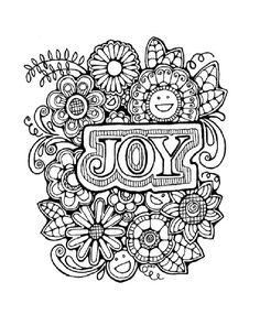 Adult Colouring Page:Original Hand Drawn Art in Black and White, Instant Digital Download Image of of the word Joy with flowers Isnt this