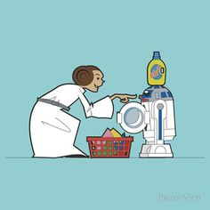 R2D2 and Leia doing laundry by Reece Ward.