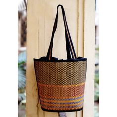 Gleamberry | Black Mat Handcrafted Bag/Basket-12""