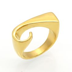 Gold Plated Stainless Steel Simple OL Female Ring New Arrivals Fashion anillos Moon Hook Jewelry Ring For Women Finger Rings