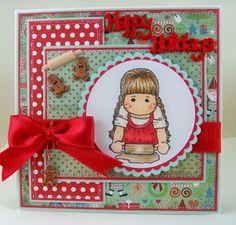 Magnolia Card girl w/rolling pin