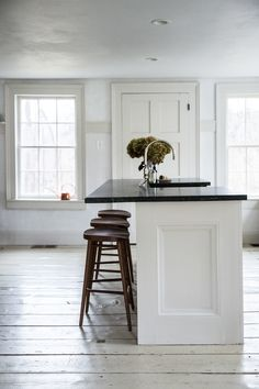 Jersey Ice Cream Co. Old Chatham House, Remodelista, kitchen island- Plaster, painted floors, white interiors