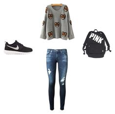 """""""Untitled #26"""" by chatham-s-m ❤ liked on Polyvore featuring Mode, AG Adriano Goldschmied, NIKE und Victoria's Secret"""
