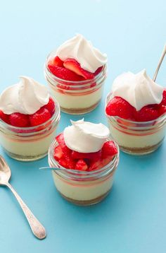 Mini Strawberry Cheesecakes from www.whatsgabycooking.com (@whatsgabycookin)!! These are the cutest little desserts ever!