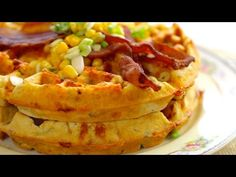 Bacon and Cheddar Cornmeal Waffles - http://www.cheesecutterscorner.com/bacon-and-cheddar-cornmeal-waffles/