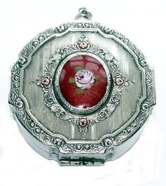 Antique Silver Guilloche EnamelCameo Rose Dance Compact or Chatelaine