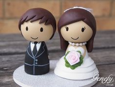 Cute wedding cake topper - Bride and Groom