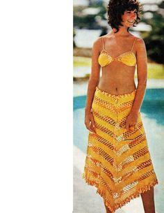 Crochet Bikini Poncho Cover Up Skirt Set Pattern by CowichanValley, $3.99