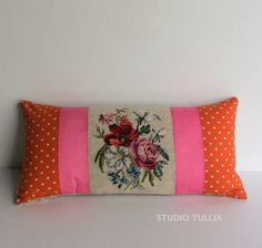 Vintage Needlepoint Pillow Floral 12 x 22 inch by studiotullia
