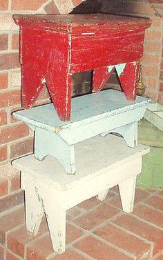 Awesome Antique Primitive Bowl Rack Square Nail Old Blue Paint AAFA | eBay
