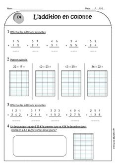 Addition in column with deduction - - Exercises to print Book Day Costumes, Montessori Math, French Classroom, Math For Kids, Word Problems, Special Education, Teaching Kids, Mathematics, Vocabulary
