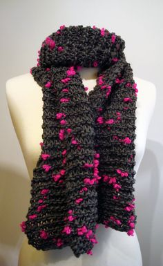 Handmade chunky grey scarf with pink bits