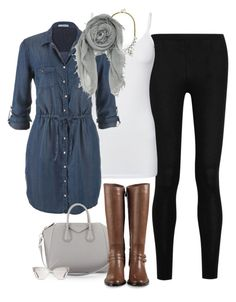"""""""Chambray Shirtdress + Leggings"""" by jill-hammel ❤ liked on Polyvore featuring Donna Karan, Splendid, maurices, BaubleBar, Chan Luu, Givenchy, Cole Haan and Tom Ford"""