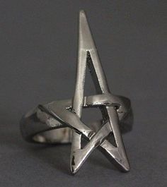 Pentagram Pentacle Ring Silver Star Wicca Pagan Witch Wiccan Goth Gothic Punk