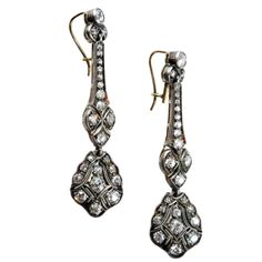 1900 english edwardian sterling silver over 18k gold diamond earrings