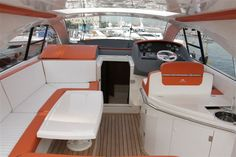 OPTIONS from Astondoa 43 Open   Generator 6 KW   Airconditing   Bamboe floors   Leather interior   Special painting Orange   underwater LED lights   Fridge and grill in cockpit