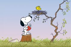 Description: Snoopy brings a Valentine heart to Woodstock at his nest in this Peanuts canvas. Ideal in celebration of Valentine's Day, or in a child's bedroom, this art ships ready to hang. - Peanuts