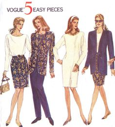 90s Vogue Sewing Pattern 1043 Womens Tie Front by CloesCloset, $12.00