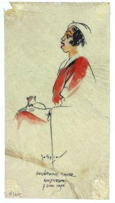 Een portret tekening van Joséphine Baker | : Spier, Jo