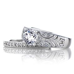 vintage wedding rings   Home > Rings > Faye's Vintage Style Round Cut Wedding Ring Set