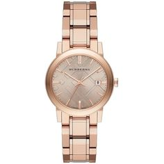 Burberry City Rose Goldtone Stainless Steel Bracelet Watch/34MM ($730) ❤ liked on Polyvore featuring jewelry, watches, apparel & accessories, rose gold, stainless steel jewelry, bezel jewelry, bezel watches, water resistant watches and bracelet watch