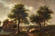 Meindert Hobbema - Landschap met een watermolen