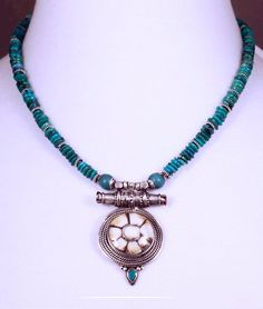 Nepalese Gau Look w/Sacred Chank and Turquoise by SilkRoadJewelry, $125.00