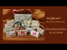 Kleine Handtasche aus Bastelkarton - YouTube Gift Wrapping, Gifts, Youtube, Boxes, Goodies, Cash Gifts, Packaging, Handbags, Crafting