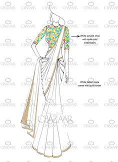 Buy DIY White Italian Crepe Saree online from the wide collection of sari.  This White colored sari in Faux Crepe fabric goes well with any occasion. Shop online Designer sari from cbazaar at the lowest price.