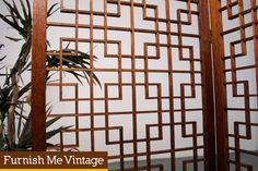 4 Panel Asian Modern Teak Room Divider Screen | Furnish Me Vintage
