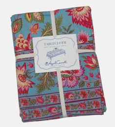 April Cornell Blue Floral 100% Cotton Tablecloth NEW NWT #AprilCornell