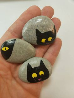 Black Kitty cat magnets painted rocks hand painted beach (Rock Painting)